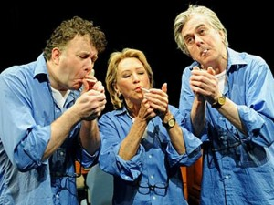 Jasper Britton, Felicity Kendal and Nicholas Le Prevost in The Last Cigarette. Photo: Tristram Kenton