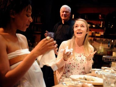 Nina Sosanya, Philip Voss and Sarah Goldberg in Apologia at the Bush. Photo: Tristram Kenton