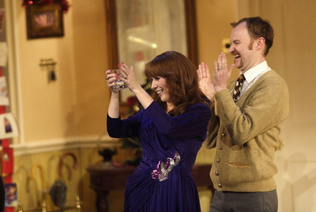 Catherine Tate and Mark Gatiss in Season's Greetings. Photo: Catherine Ashmore