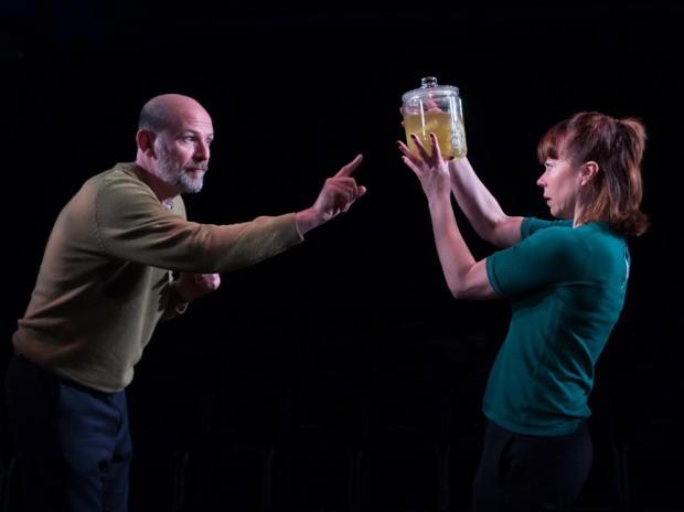 Paul Hickey and Amelia Lowdell in Incognito. Photo: Bill Knight