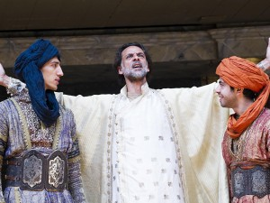 Jonathan Bonnici, Alexander Siddig and Satya Bhabha in Holy Warriors. Photo: Tristram Kenton