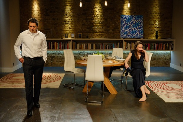 Hari Dhillon and Kirsty Bushell in Disgraced. Photo: Simon Kane