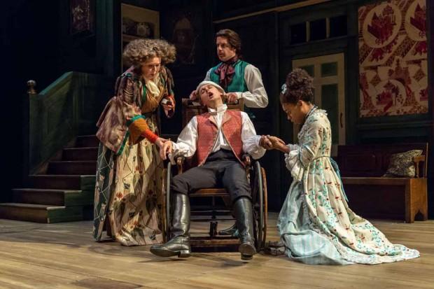Jane Booker, Samuel Barnett, Geoffrey Streatfeild and Pippa Bennett-Warner in The Beaux's Stratagem. Photo: Manuel Harlan