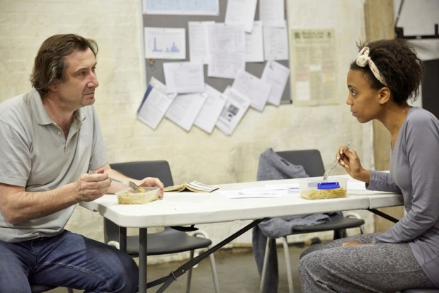 Sean O'Callaghan and Janet Etuk in Beyond Caring. Photo: Mark Douet