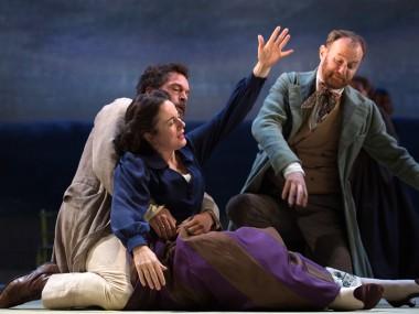 Amanda Drew, John Light and Mark Gatiss in Three Days in the Country. Photo: Bill Knight