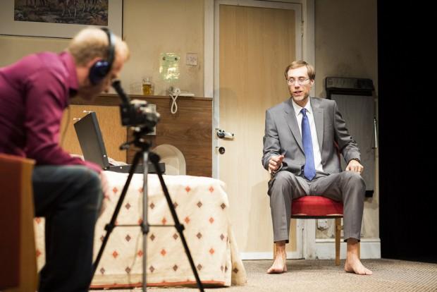 Steffan Rhodri and Stephen Merchant in The Mentalists. Photo: Helen Maybanks