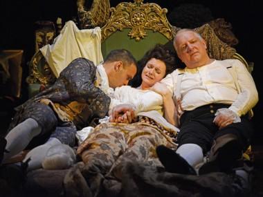 Joseph Millson, Dervla Kirwan and Simon Russell Beale in Mr Foote's Other Leg. Photo: Nobby Clarke