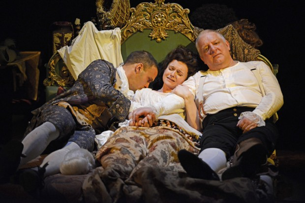 Joseph Millson, Dervla Kirwan and Simon Russell Beale in Mr Foote's Other Leg. Photo: Nobby Clarke