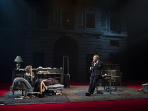 Belinda Lang and Nicholas Farrell in Single Spies. Photo: Alastair Muir