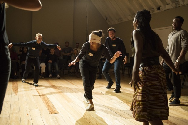 James Hillier, Adelle Leonce, Jamael Westman, Lorna Brown and Osy Ikhile in Torn. Photo: Helen Maybanks