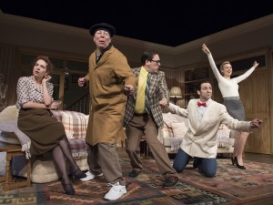 Katherine Parkinson, Steve Pemberton, Rufus Jones, Ralf Little and Emily Berrington in Dead Funny. Photo: Alistair Muir