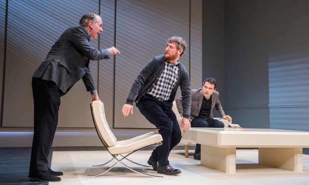 Paul Ritter, Tim Key and Rufus Sewell in Art. Photo: Tristram Kenton