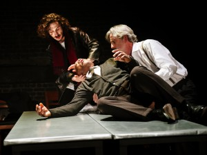 Billy Postlethwaite, Burt Caesar and Martin Turner in The Plague. Photo: Alex Brenner