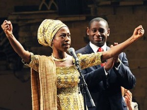 Nikki Amuka-Bird and David Harewood in Welcome to Thebes. Photo: Tristram Kenton