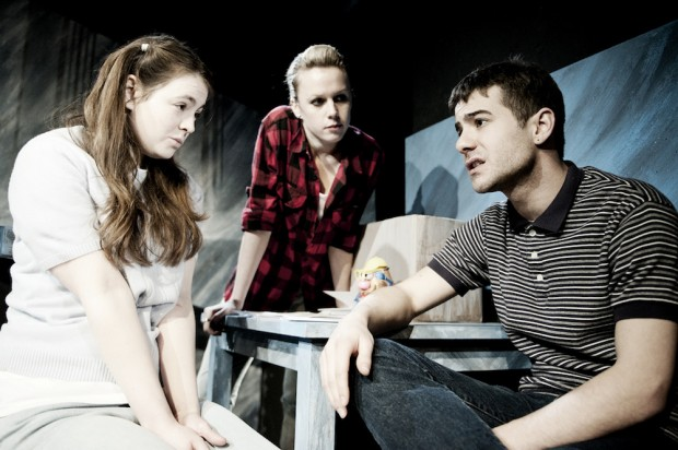 Sarah Hoare, Victoria Bavister and Charlie Hollway in The Biting Point. Photo: Idil Sukan