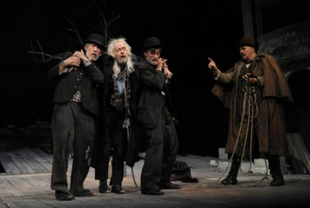 Ian McKellen, Ronald Pickup, Roger Rees and Matthew Kelly in Waiting for Godot. Photo: Sasha Gusov