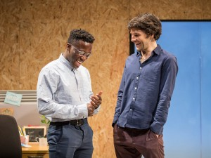 Bayo Gbadamosi and Colin Morgan in Gloria. Photo: Marc Brenner