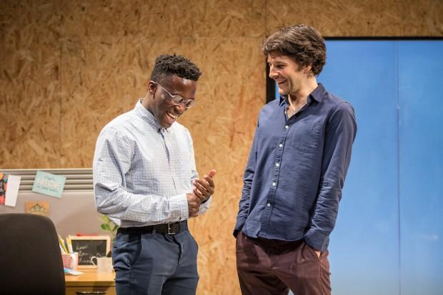 Bayo Gbadamosi and Colin Morgan in Gloria. Photo: Marc Brenner