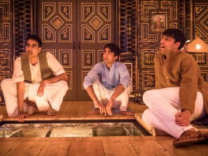 Jaz Deol, Shubham Saraf and Raj Bajaj in Lions and Tigers. Photo: Marc Brenner