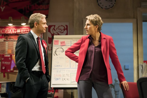 Martin Freeman and Tamsin Greig in Labour of Love. Photo: Johan Persson