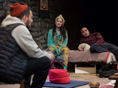 Adam Deacon, Yasmine Akram and Samuel Anderson in The Retreat. Photo: Craig Sugden