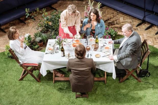 Belinda Lang, Selina Cadell, Jonathan Broadbent, Rebekah Hinds and Paul Bradley in Humble Boy. Photo: Manuel Harlan