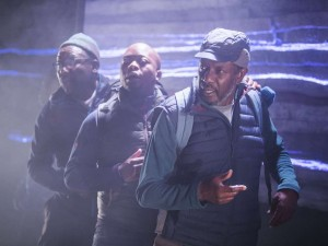 Trevor Laird, Tonderai Munyevu and Tyrone Huggins in Black Men Walking. Photo: Tristram Kenton