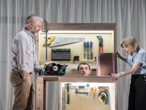 Mark Bonnar, Brian Vernel and Jane Horrocks in Instructions for Correct Assembly. Photo: Johan Persson