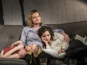 Kitty Archer, Sarah Woodward and Pearl Chanda in One for Sorrow. Photo: Johan Persson