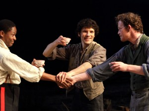 Adetomiwa Edun, Colin Morgan and Seamus O'Hara in Translations. Photo: Catherine Ashmore