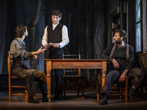 Heida Reed, Iwan Rheon and Paul Nicholls in Foxfinder. Photo: Pamela Raith