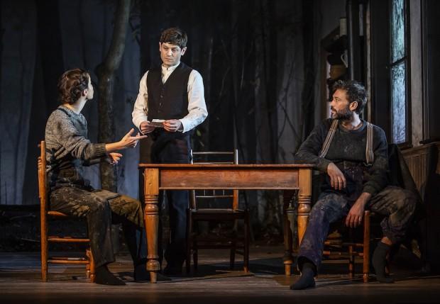 Heida Reed, Iwan Rheon and Paul Nicholls in Foxfinder. Photo: Pamela Raith