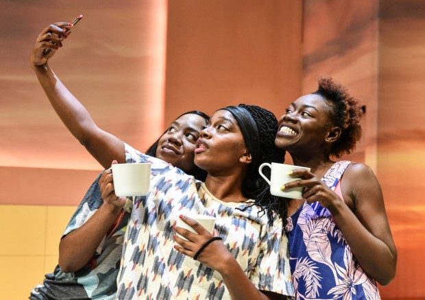 Nicola Maisie Taylor, Aretha Ayeh and Marième Diouf in The Hoes. Photo: Robert Day