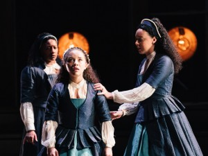 Clare Perkins, Saffron Coomber and Adelle Leonce in Emilia. Photo: Helen Murray