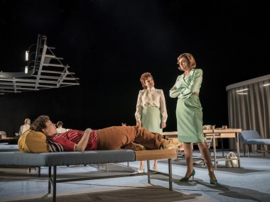 Liv Hill, Charlotte Lucas and Katherine Kingsley in Top Girls. Photo: Johan Persson