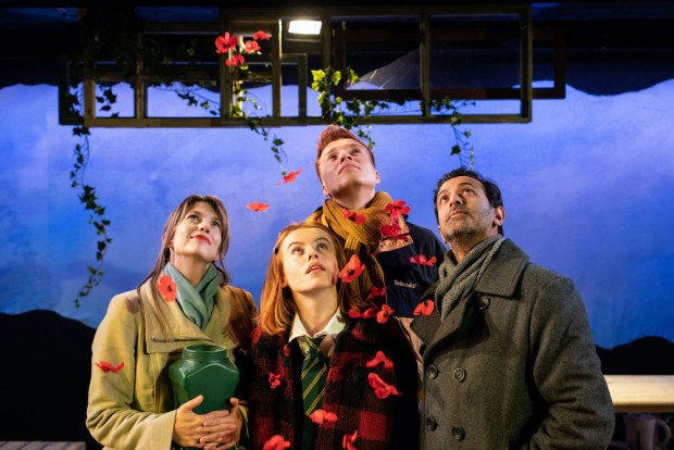 Claire Goose, Rosie Day, Will Fletcher and Navin Chowdhry in The Girl Who Fell. Photo: Helen Maybanks