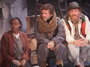 Rakie Ayola, Jason Hughes and Rhys Ifans in On Bear Ridge. Photo: Mark Douet