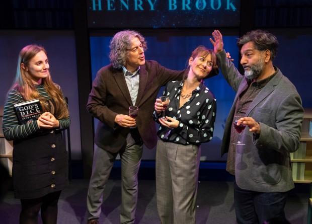 Leila Mimmack, Alan Davies, Alexandra Gilbreath and Nitin Ganatra in God's Dice. Photo: Bill Knight