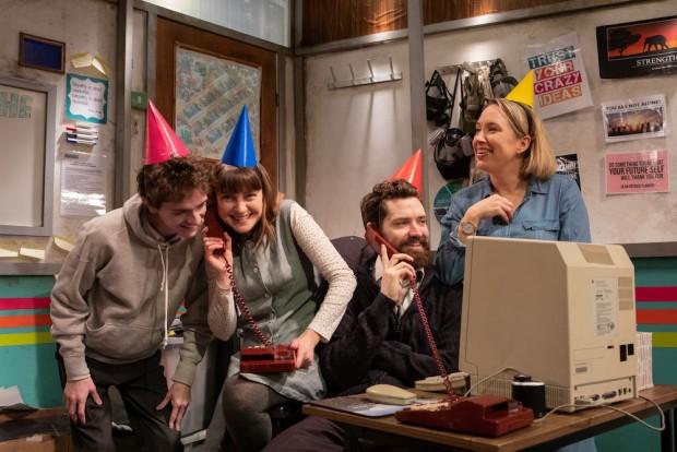 Andrew Finnigan, Lydia Larson, Andy Rush and Jenni Maitland in You Stupid Darkness! Photo: Ali Wright