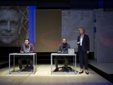 Oliver Johnstone, Enyi Okoronkwo and Sarah Woodward in The Haystack. Photo: Ellie Kurttz