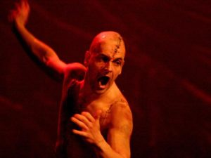 Jonny Lee Miller in Frankenstein. Photo: Catherine Ashmore