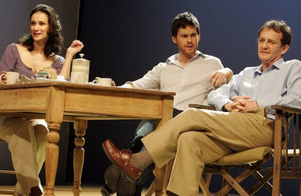 Indira Varma, Tom Riley and Anton Lester in The Vertical Hour. Photo: Keith Pattison