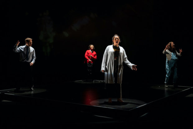Thomas Coombes, Anne Odeke, Mona Goodwin and Gemma Salter in Misfits. Photo: Zbigniew Kotkiewicz
