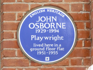 Blue Plaque to John Osborne, 53 Caithness Road, West London.