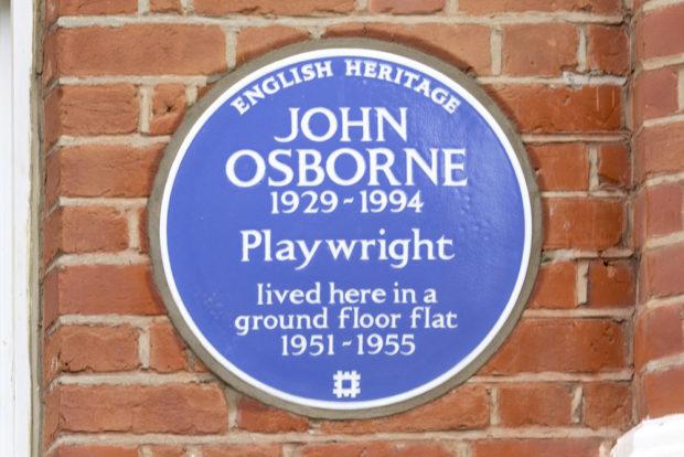 Blue Plaque to John Osborne, 53 Caithness Road, West London.